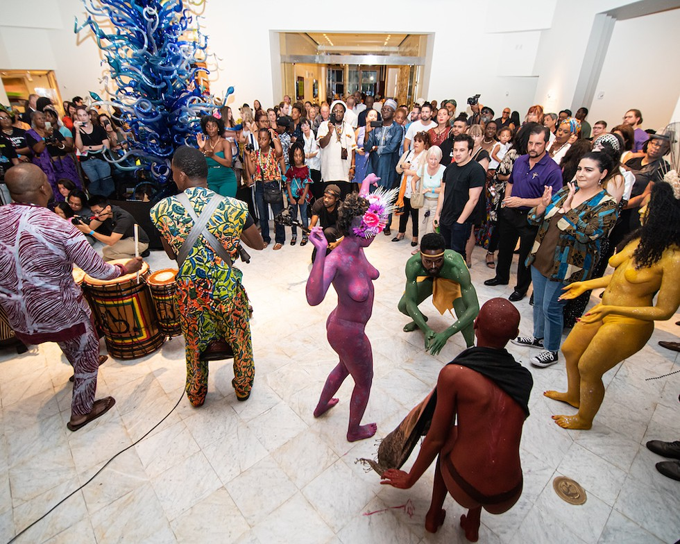 The Rainbow Myriads join African drumming group Kasa Saka in an improvisational performance at Orlando Museum of Art. - PHOTO BY MATT KELLER LEHMAN