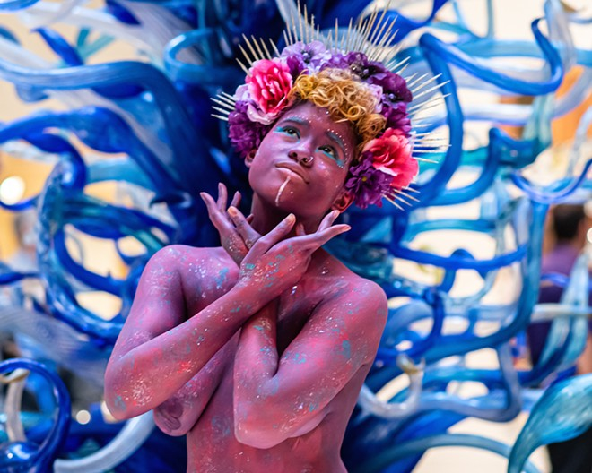 A member of the Rainbow Myriads at 'Indigenous Futurism,' Orlando Museum of Art, June 6 2019 - PHOTO BY MATT KELLER LEHMAN FOR ORLANDO WEEKLY