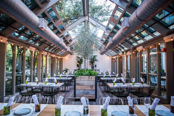 Sixty Vines greenhouse patio, Dallas