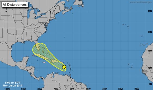 Monday morning's outlook on the tropical wave - IMAGE VIA NATIONAL HURRICANE CENTER, MIAMI FLORIDA