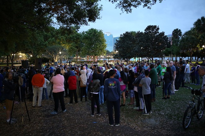 People gathered on March 16, 2019, for a vigil at Lake Eola Park to remember the 50 Muslim lives taken at two Christchurch mosques in New Zealand - PHOTOS JOEY ROULETTE