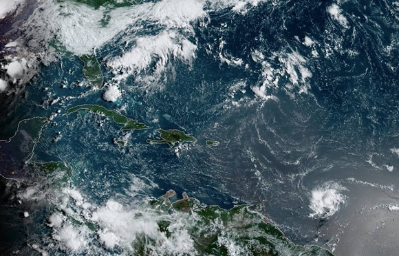 Dorian, seen here in the lower-right corner, is roughly 515 miles east-southeast of Barbados - PHOTO VIA NOAA