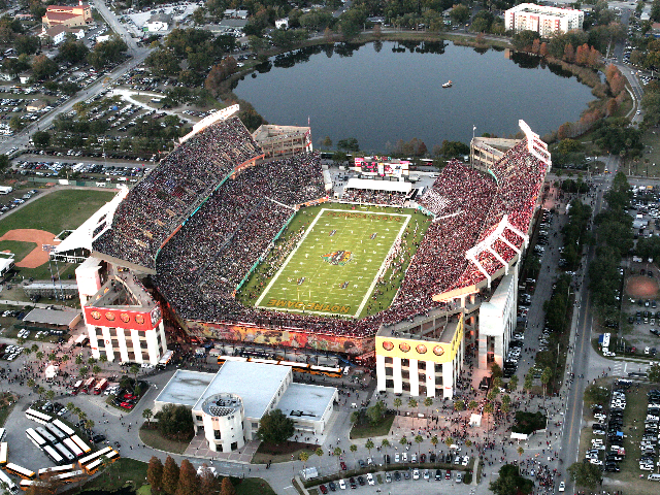 A photo of the Champs Sports Bowl between FSU and Notre Dame in 2011 shows where busses park outside the stadium during games. - PHOTO VIA CAMPING WORLD STADIUM WEBSITE