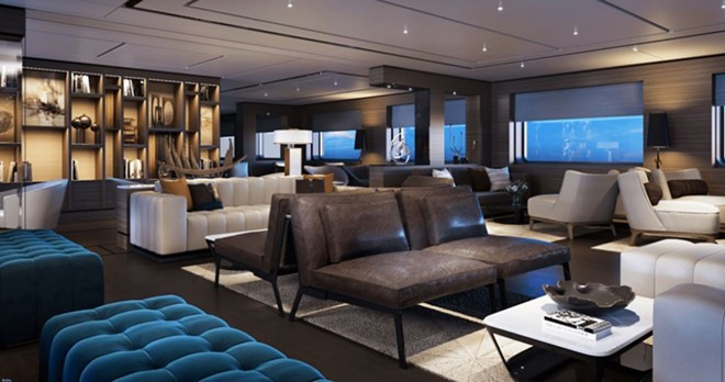 The Living Room public space on the Azora - IMAGE VIA RITZ-CARLTON YACHT COLLECTION