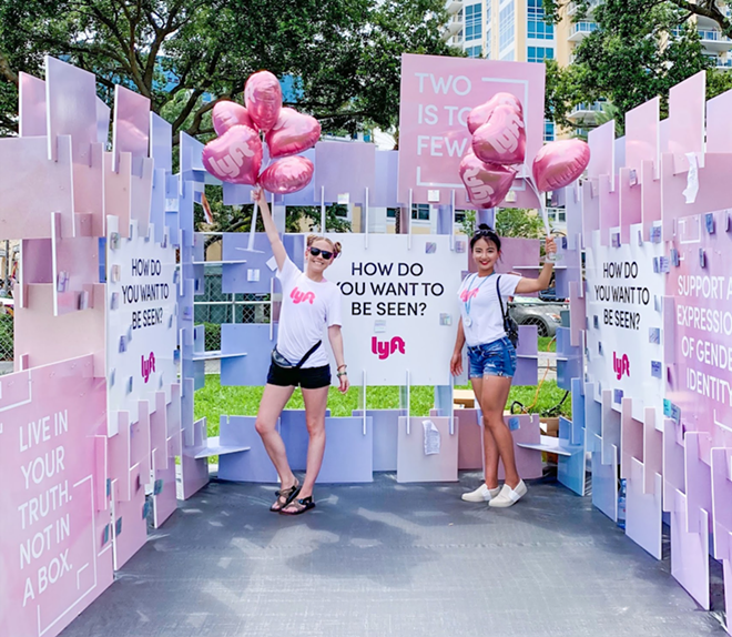 PHOTO OF LYFT'S 'TWO IS TOO FEW' INTERACTIVE BOOTH AT THE ST. PETE PRIDE PARADE ON JUNE 22, 2019 VIA LYFT