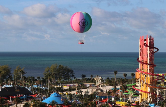 The Up Up and Away balloon attraction on Royal Caribbean's Coco Cay - IMAGE VIA ROYAL CARIBBEAN