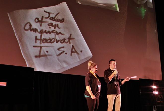 M.J. Lunzman and Brandon Lunzman accepting the Indie Spirit Award during the award ceremony - PHOTO BY SARAH JENNIFER HARDIN