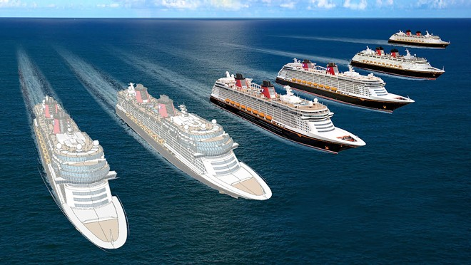 Disney Cruise Line's four current ships along with two of the three new ships that are now in the works - IMAGE VIA DISNEY PARKS BLOG