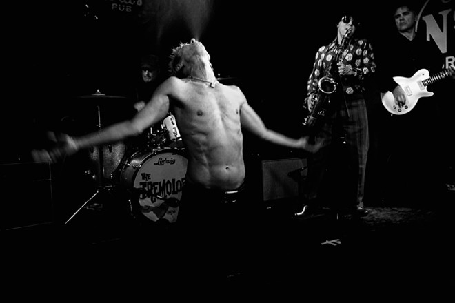 Greg Reinel, Jim Ivy and the Tremolords as the Stooges at Will's Pub - JIM LEATHERMAN