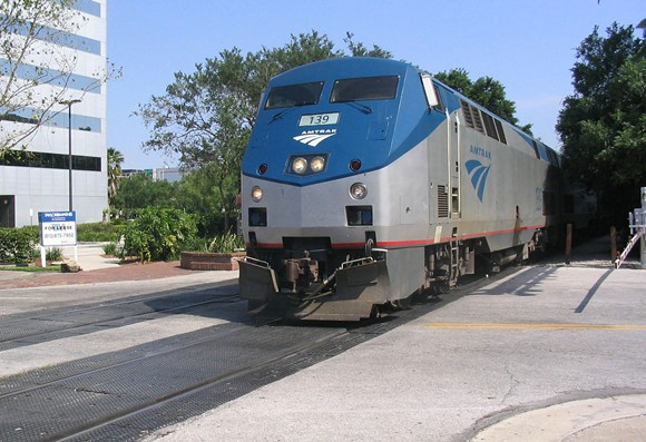 Southbound Amtrak on the Silver Star route, crossing Central Boulevard in downtown Orlando - IMAGE BY SPUI VIA WIKIMEDIA COMMONS