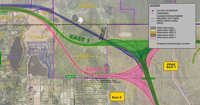 Alternative plans East 1 and East 2 both have highways bisecting Split Oak - MAP VIA ORANGE COUNTY
