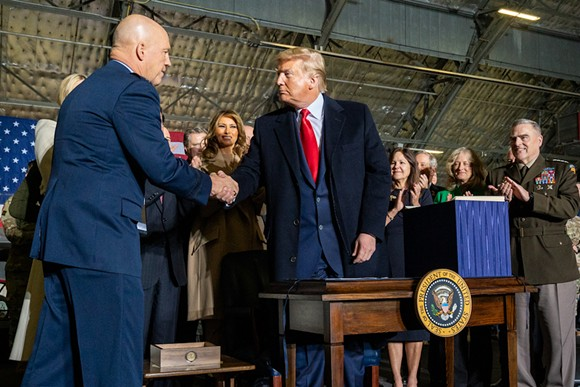 Donald J. Trump greets Gen. Jay Raymond after being named the first Chief of Space Operations and first member of the United States Space Force - PHOTO VIA THE WHITE HOUSE