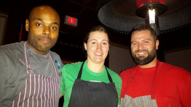 L-R: Gerald Sombright, Jenny Heath, Ed Heath at the Cleveland-Heath Dinner at PB&G March, 2015. - PHOTO BY FAIYAZ KARA