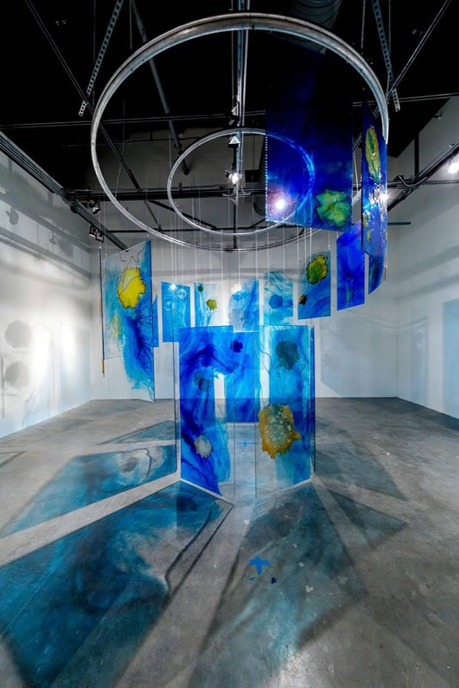 """""""Below the Surface,"""" dimensions variable; resin panels, steel wire, steel beads, dyed and burned Japanese paper - PHOTO COURTESY OF MIRA LEHR"""