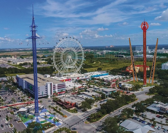 An artist rendering of the proposed new attractions at ICON Park. The slingshot and drop tower can be seen on the right side of the rendering - IMAGE VIA ICON PARK ORLANDO | FACEBOOK