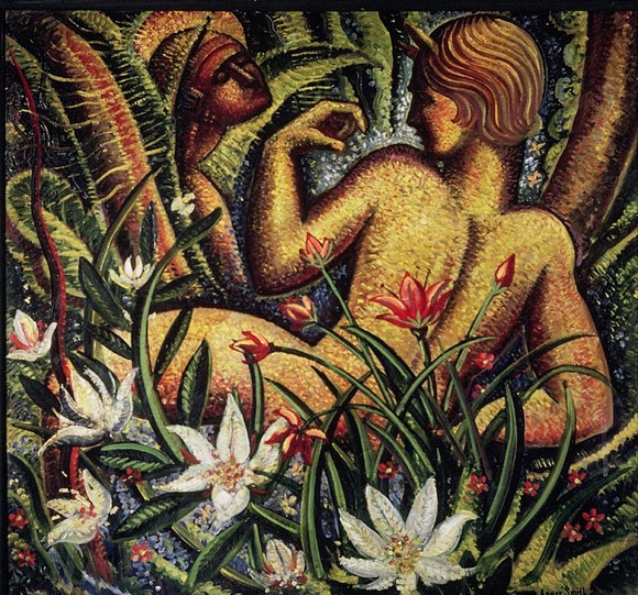 'Untitled (Figure in the Garden)' painting by Jules André Smith - PHOTO BY JIM HOBART, COURTESY ART & HISTORY MUSEUMS MAITLAND