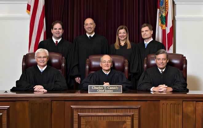 The Florida Supreme Court under Chief Justice Charles Canady after the appointment of three new Justices by Gov. Ron DeSantis - PHOTO VIA SUPREME COURT OF FLORIDA WEBSITE