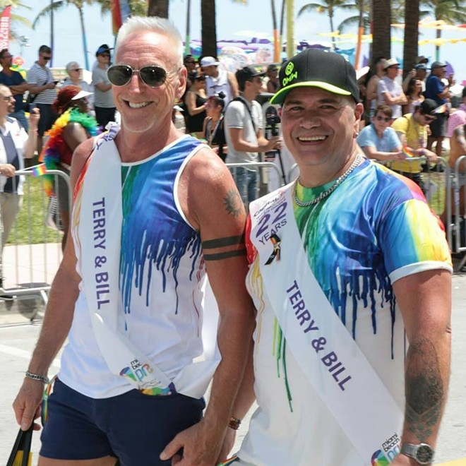 Terry DeCarlo with husband Bill Huelsman at Miami Pride Parade 2019 - PHOTO VIA TERRY DECARLO/FACEBOOK