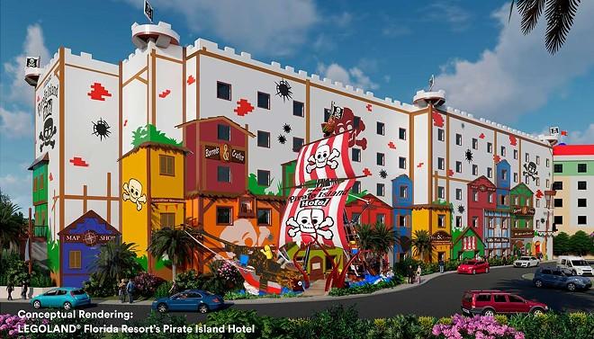 Legoland Florida's upcoming Pirate Island Hotel, the resort's third on-site hotel - PHOTO VIA LEGOLAND FLORIDA RESORT