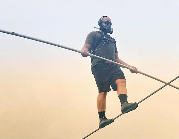 Nik Wallenda tightropes across an active volcano in February - PHOTO VIA NIK WALLENDA/TWITTER