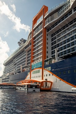 Once on Deck 2, Magic Carpet hovers within a hair above the ocean surface and becomes an extension of the Destination Gateway, a new area that becomes a luxury embarkation station - IMAGE VIA CELEBRITY CRUISES