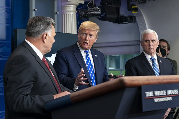 "President Trump at the infamous ""bring the light inside the body"" briefing - OFFICIAL WHITE HOUSE PHOTO BY JOYCE N. BOGHOSIAN"