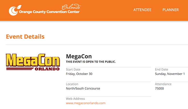 SCREENSHOT OF ORANGE COUNTY CONVENTION CENTER'S WEBSITE