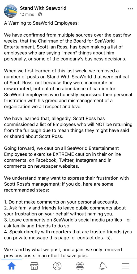 The contents of the Facebook post by Stand With SeaWorld - IMAGE VIA STAND WITH SEAWORLD | FACEBOOK