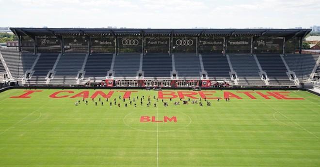 Audi Field soccer stadium painted by D.C. United players - PHOTO VIA MAJOR LEAGUE SOCCER FACEBOOK