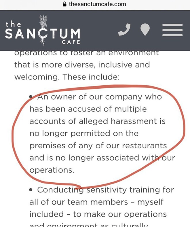 Now-deleted screenshot from the Sanctum Cafe's website, taken Tuesday 6:41 pm - SCREENSHOT FROM SANCTUM CAFE WEBSITE