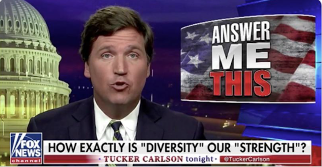 Tucker Carlson on Fox News - SCREENCAP OF FOX NEWS VIA ANGELO CARUSONE/TWITTER