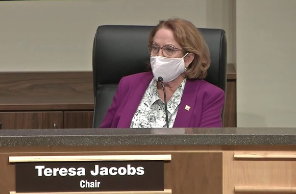 Orange County School Board Chair Teresa Jacobs on Tuesday - SCREENSHOT VIA ORANGE COUNTY PUBLIC SCHOOLS/YOUTUBE