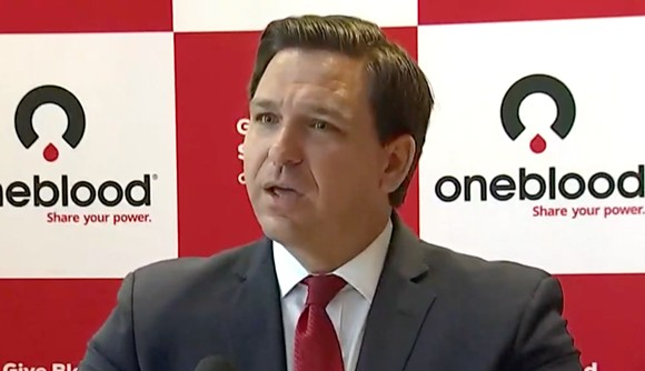 Gov Ron DeSantis is interrupted by yet another heckler on Monday - SCREENSHOT VIA FLORIDA CHANNEL