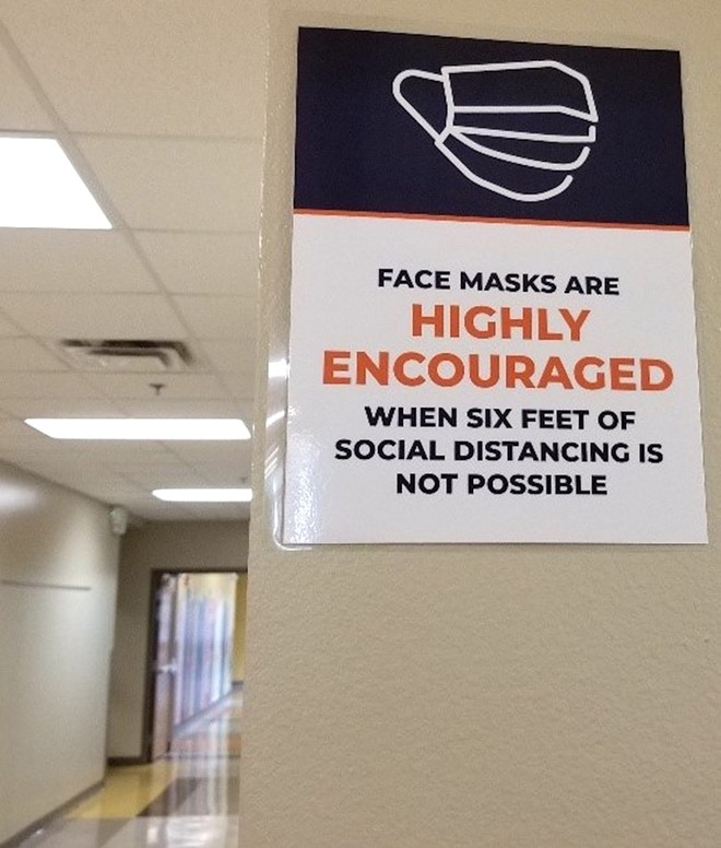 A sign at Eccleston Elementary School says masks are recommended, not required. - PHOTO VIA ORANGE COUNTY CLASSROOM TEACHERS ASSOCIATION/FACEBOOK