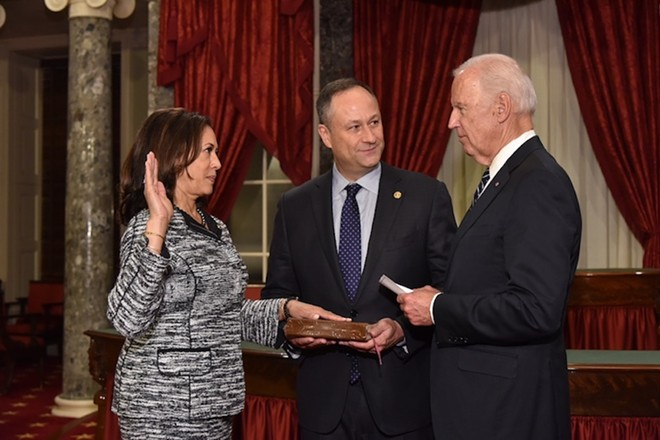 Then-Vice President Joe Biden administers the oath of office to U.S. Sen. Kamala Harris on January 3, 2017. - PHOTO VIA UNITED STATES SENATE/WIKIMEDIA COMMONS