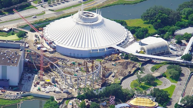 A photo from Aug 15, 2020, of the TRON coaster under construction at the Magic Kingdom - IMAGE VIA BIORECONSTRUCT | TWITTER