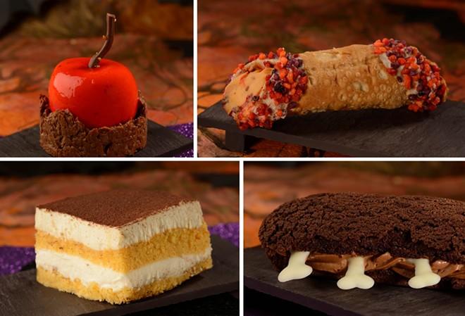 Poison Candied Apple (Top left), Pumpkin Cheesecake Cannoli (Top right), Pumpkin Tiramisu (Bottom left), - Box of Bones Chocolate Éclair (Bottom right) - IMAGE VIA DISNEY