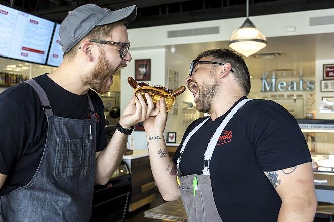 Seth Parker (L) and Eliot Hillis (R) of Orlando Meats - ROB BARTLETT