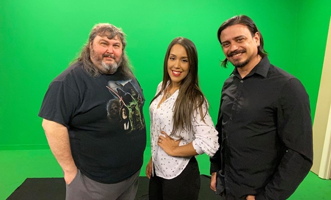 Producer Gerald Godbout with hosts Nando Luis Roman and Christina Carmona - INDIE CINEMA SHOWCASE
