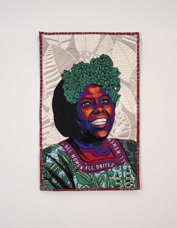 Bisa Butler, 'Wangari Maathai', 2020, quilted wax print fabric - PHOTO COURTESY OMA