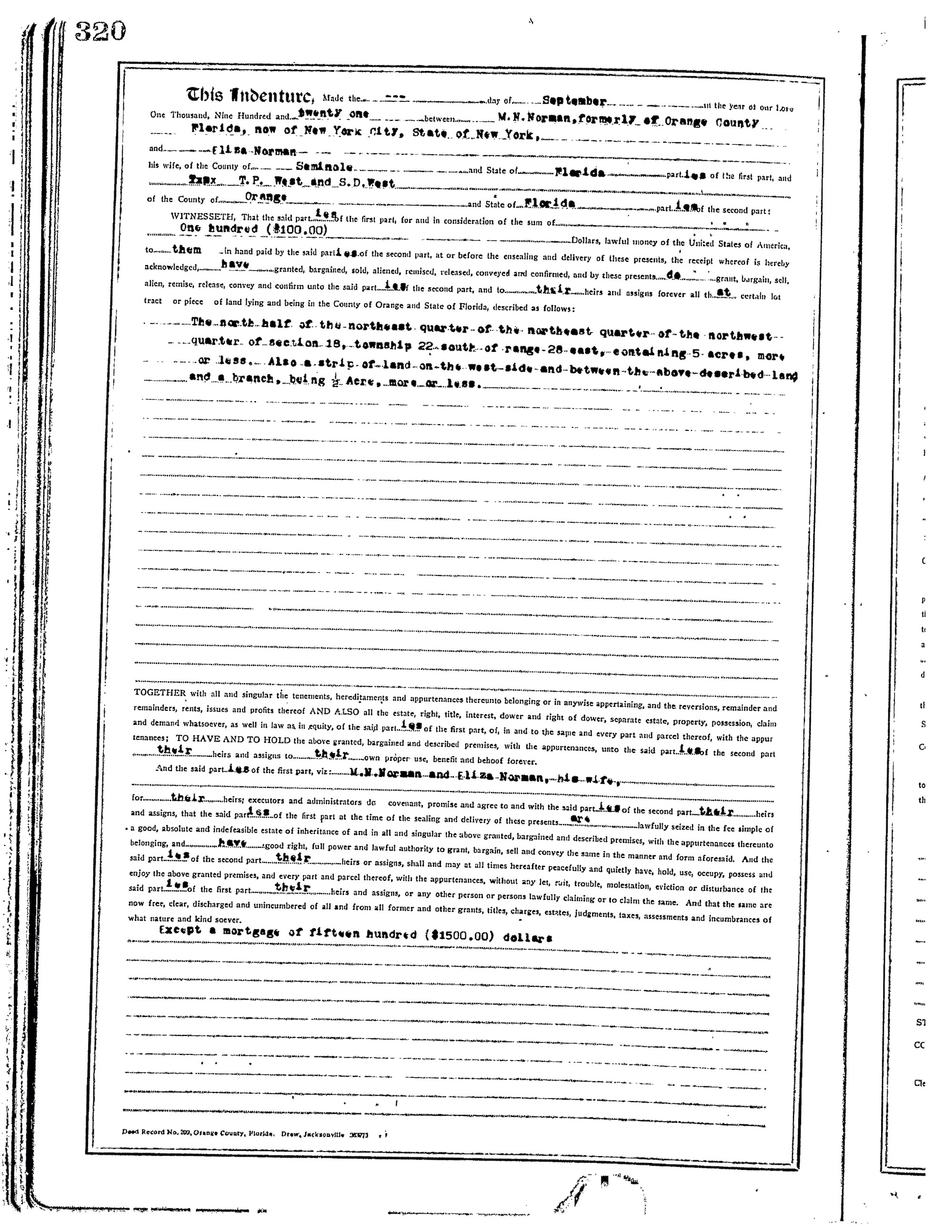 The land deed proving Mose Norman owned land in Ocoee. - PHOTOS AND DOCUMENTS COURTESY ORANGE COUNTY REGIONAL HISTORY CENTER