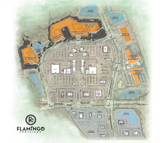 A 2019 design for the center used in marketing materials for potential retail clients. The project has been slightly altered since this plan to now include the large Target in the top right corner of the retail center. - IMAGE VIA CROSSMAN & CO | DISNEY