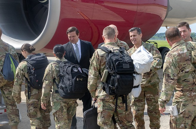Gov. Ron DeSantis oversees deployment of the 125th Fighter Wing of Florida Air National Guard (June 2019) - PHOTO: GOVERNOR'S PRESS OFFICE