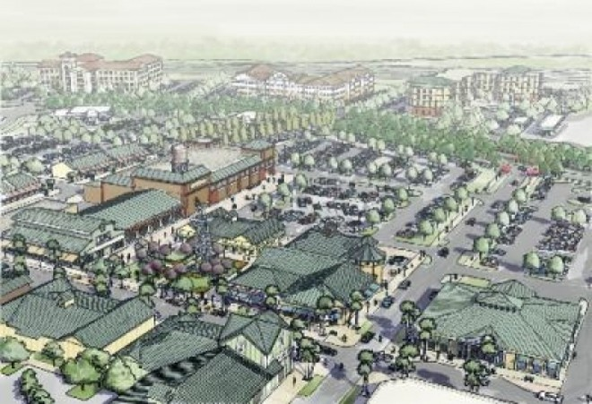 Original renderings of the Flamingo Crossings village center - IMAGE VIA DISNEY