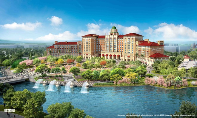 The Universal Studios Grand Hotel at the entrance of Universal Studios Beijing - IMAGE VIA UNIVERSAL STUDIOS BEIJING