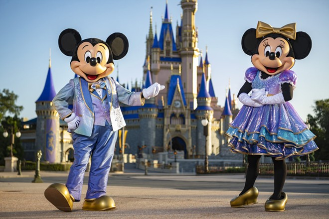 """Mickey and Minnie's """"EARidescence"""" 50th-anniversary outfits - IMAGE VIA DISNEY"""