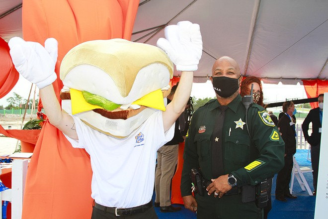 Hands up! Anthropomorphized Slider-Man at Orlando groundbreaking - PHOTO COURTESY WHITE CASTLE