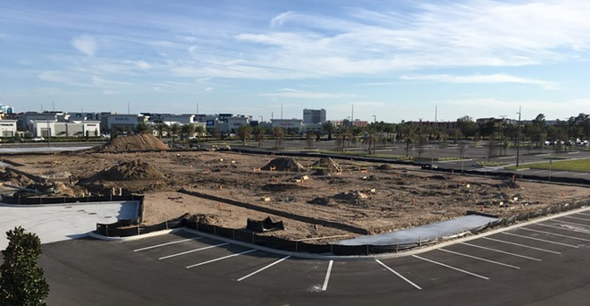 Construction of Orlando's Alamo Drafthouse had already begun, as shown in this photo from March 1, 2020. - CAMERON MEIER