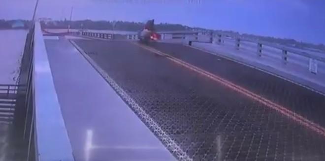 A motorcyclist hops the Main St. drawbridge in Daytona Beach. - PHOTO VIA CHIEF JAKARI YOUNG/TWITTER