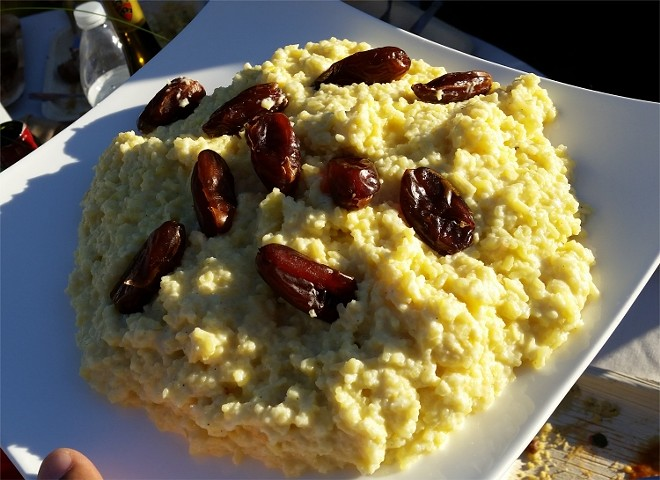 Saffron rice pudding, rose water, dates (Iran)